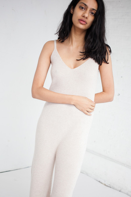 Ryan Roche Ribbed Jumpsuit in Heather Palomino