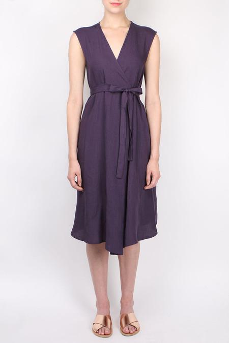 A Puntob B Linen Dress W/ Cross Tie