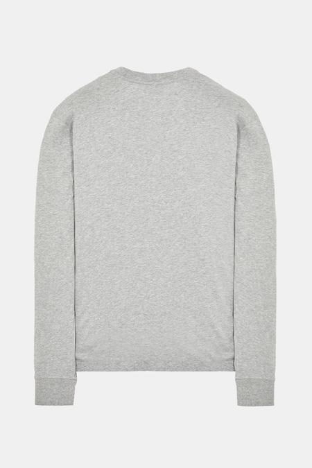 Stone Island Chest Logo T-Shirt LS Henley - Melange Grey
