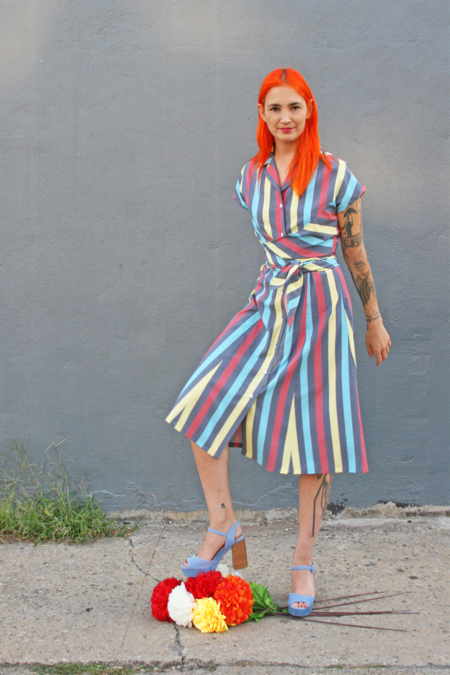 Kurt Lyle Akira Cap Sleeve Wrap Dress in Hot Stripe