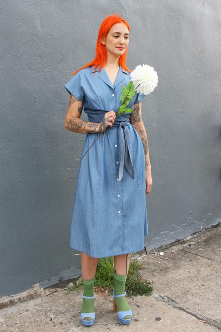 Kurt Lyle Akira Cap Sleeve Wrap Dress in Mixed Chambray