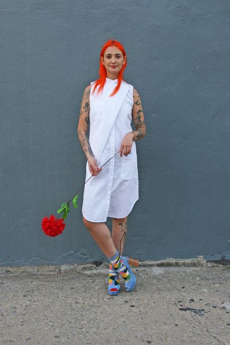 Kurt Lyle Deana Mandarin Collar Dress in White Check