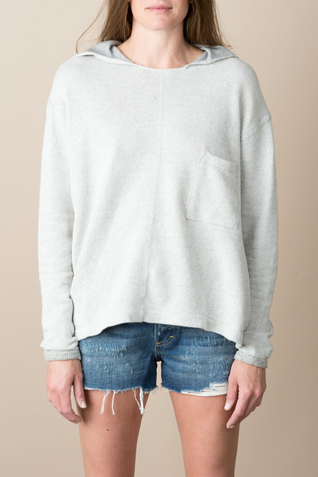 VRoom Heather Inlay Hooded L/S Crew In Heather Grey