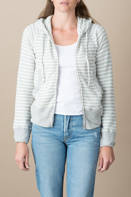 VRoom L/S Modal Fleece Zip Hoodie In Grey/White