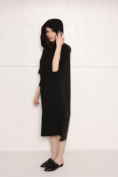 Intentionally Blank CAMEO Oversized hooded shirt dress Black