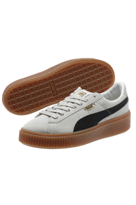PUMA Suede Platform Women's Sneakers- White/Black