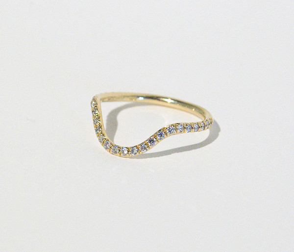 Mociun Curved Band with Micro Pavé White Diamonds