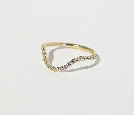 Mociun Curved Band with Micro Pavé White Diamonds
