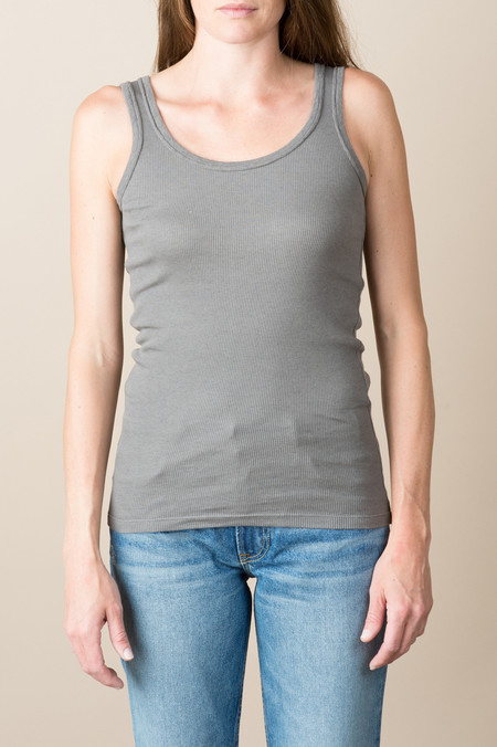 VRoom Cotton/Cashmere Rib Long Tank Top In Warm Charcoal