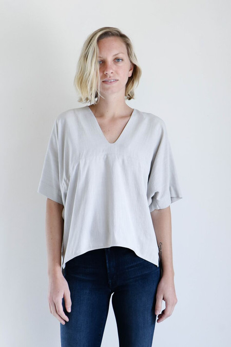 7115 By Szeki V-Neck Dolman Top in Sand