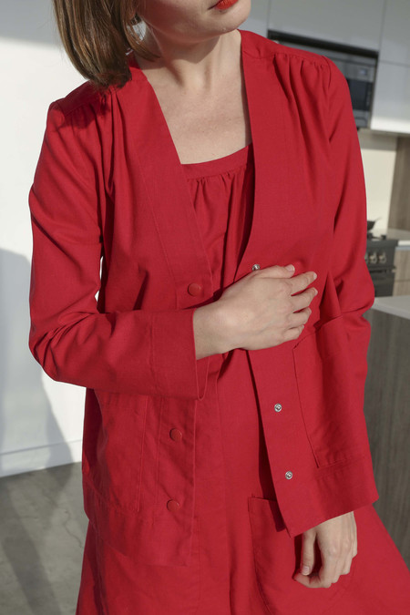 CARLEEN Cody Cardigan in Red