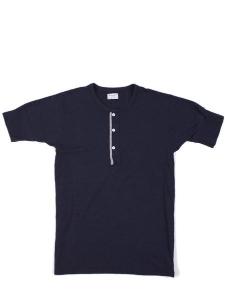 Homespun Standard Henley S/S Vintage Blues Jersey Indigo