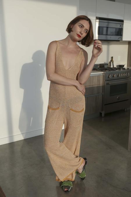 Sayaka Davis Knit Jumpsuit in Yellow Oak