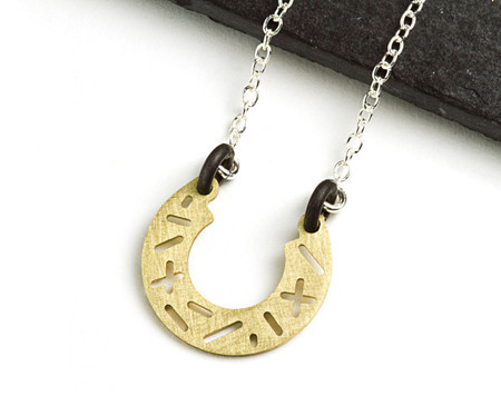 Camillette Brass Random Horse Shoe Necklace