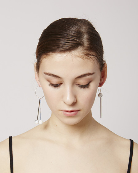 Rue Lea Earrings in White & Silver