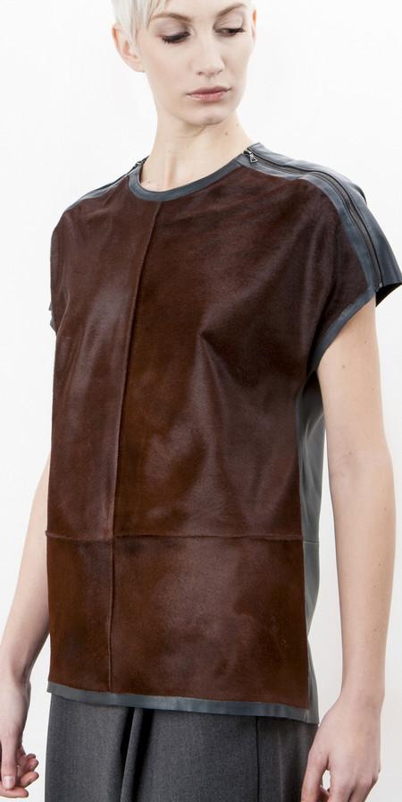 SCHAI Zip Shoulder Pony/Leather Top