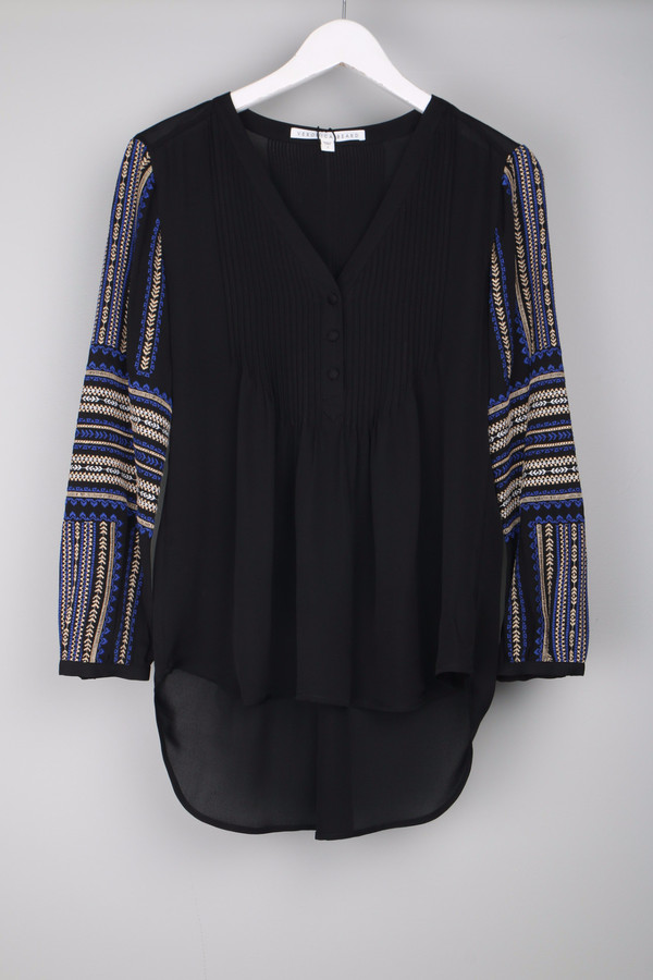 Veronica Beard Spruce Boho Blouse Black