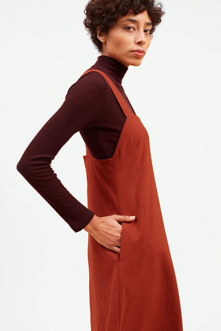 Waltz Studio Pinafore Dress – Rust