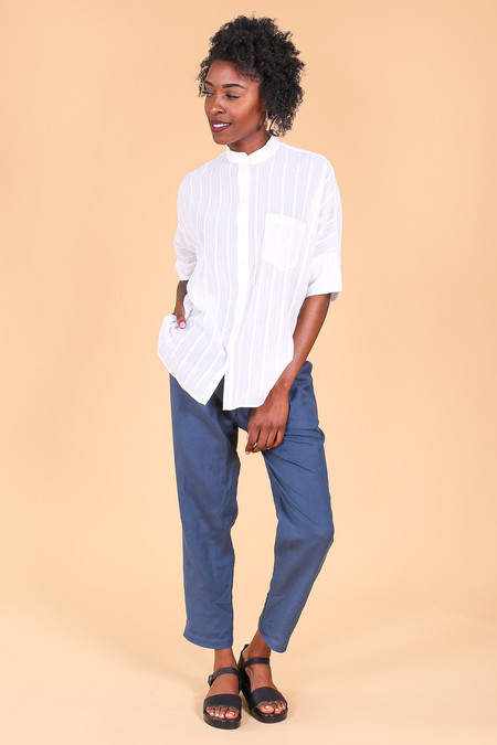 Steven Alan Oversized stand collar shirt in white gauze stripe