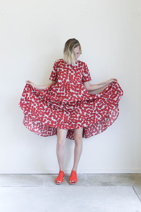 Creatures of Comfort Mallory Dress in Chili Dots