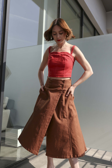 Pari Desai Paz Wrap Skirt in Toffee