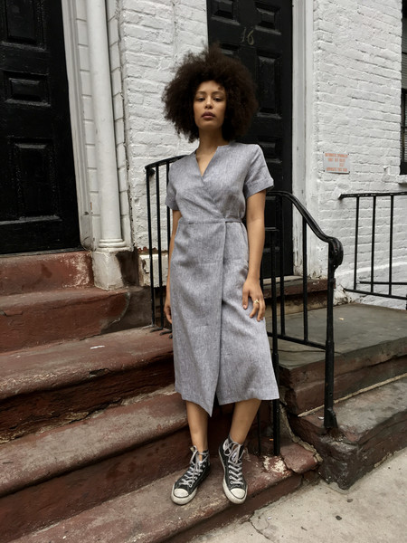 Nikki Chasin Leda Wrap Dress Chambray Linen