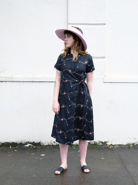 Nikki Chasin LEDA DRESS IN EMBROIDERED LINEN