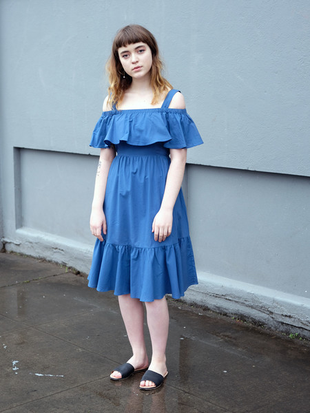 Samantha Pleet PARAMOUR DRESS IN BLUE COTTON POPLIN