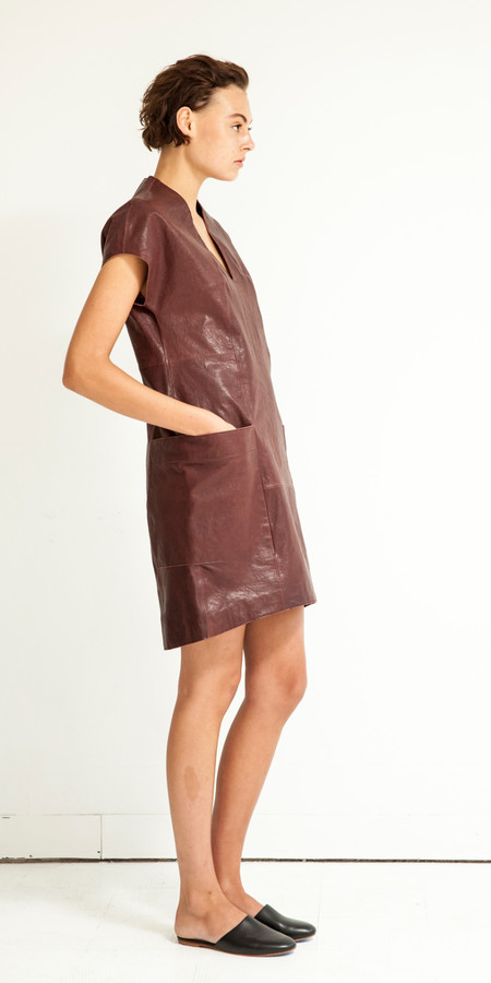 SCHAI Polygon Leather Dress