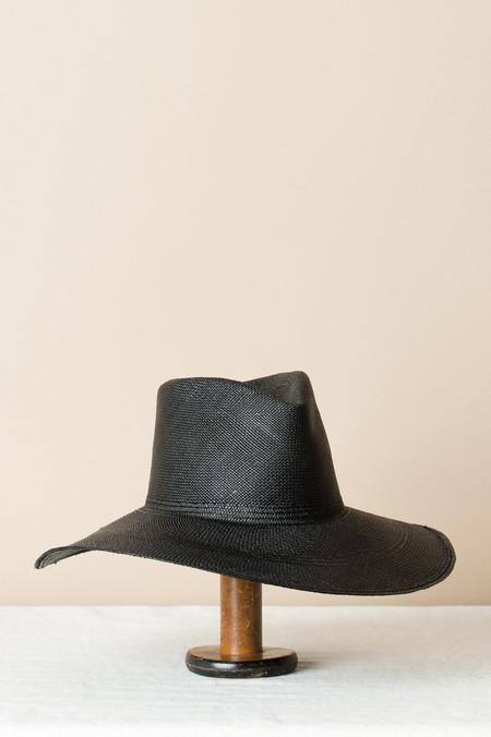 Clyde Wide Brim Pinch Panama Hat In Black