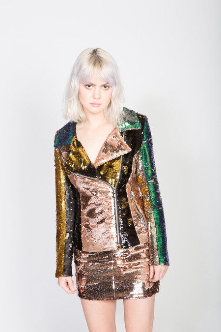 Any Old Iron Sequin Moto Jacket