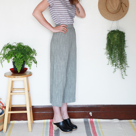 Me & Arrow Wide Pants Olive Cotton