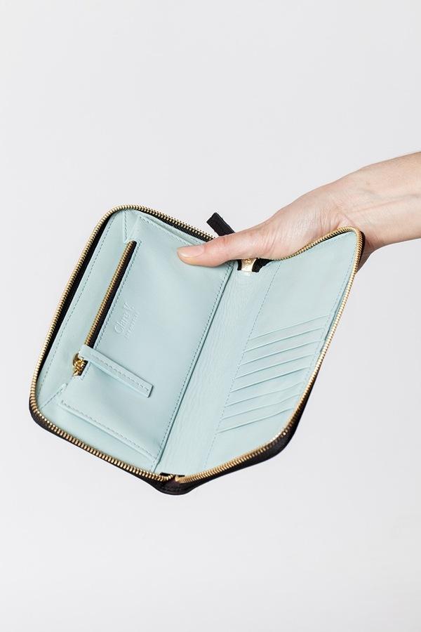 Clare V. Zip Wallet-black stripe