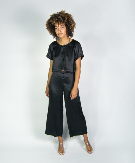 Ali Golden Black Silk Wide Leg Pant