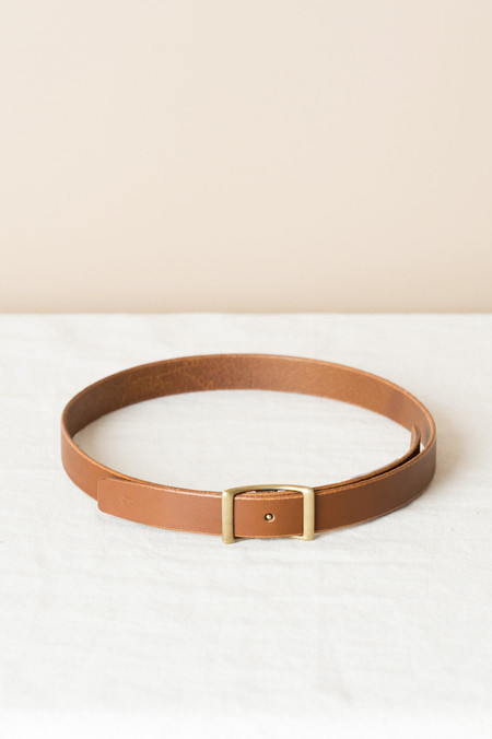 "KikaNY Conway Buckle Belt, 1"" Wide In Dark Tan"