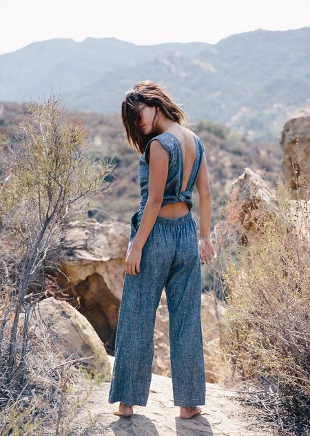 Ozma of California Indigo Chambray Matador Jumpsuit
