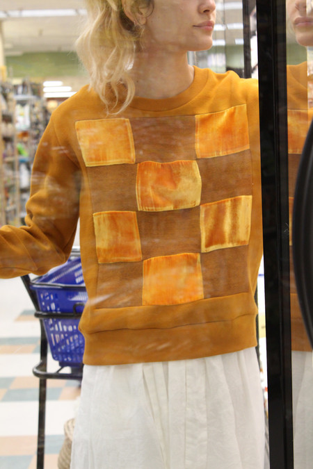 Correll Correll Checkered Velvet Sweatshirt Turmeric