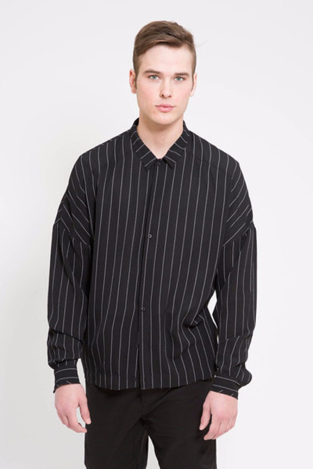 Chapter Frit Long Sleeve Black and White Stripe Woven