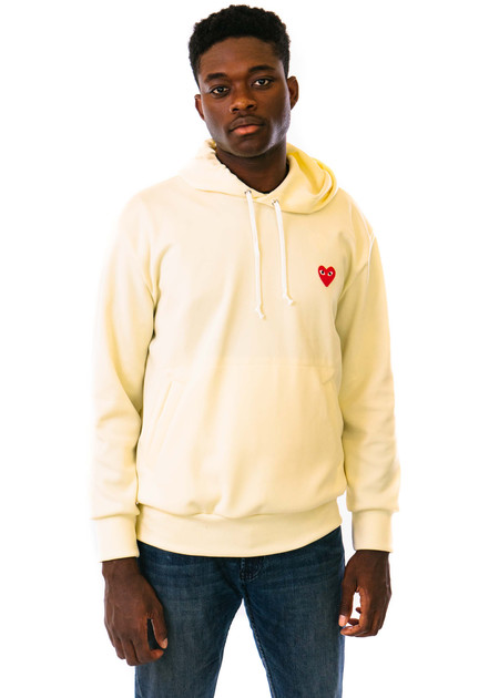 Comme des Garçons-PLAY Hooded Sweatshirt - Red Heart