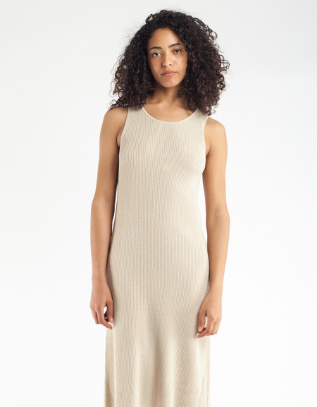 Ali Golden Ribbed Dress Natural