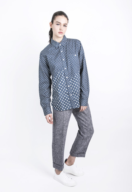 Unisex Spliced Polka Dot Shirt