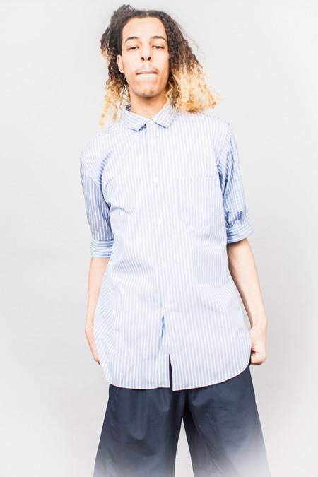 Comme Des Garçons SHIRT Short Sleeve Cuff Shirt Blue/White Multi