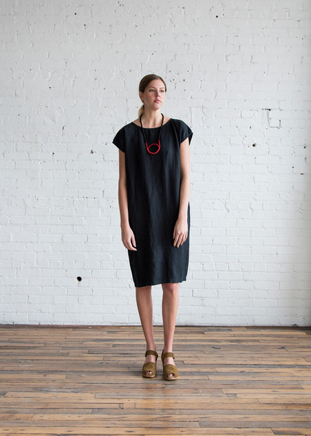 Black Crane Back Slit Open Dress Black