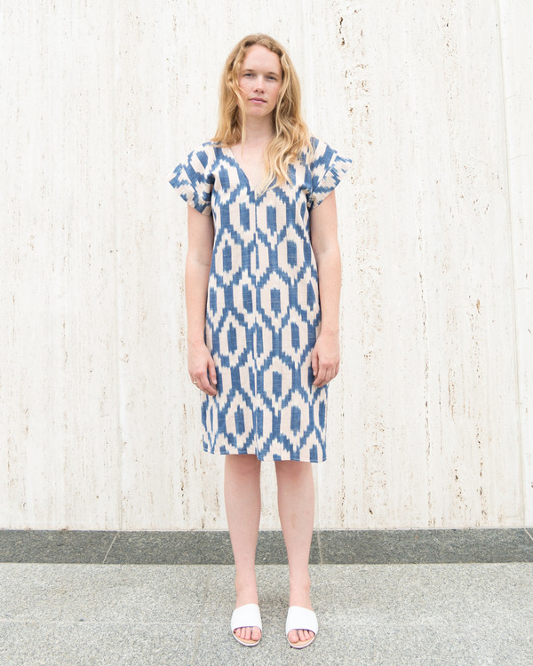 Esby Annie Dress - Blush/Blue Ikat