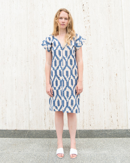 Esby ANNIE DRESS - BLUSH/BLUE IKAT