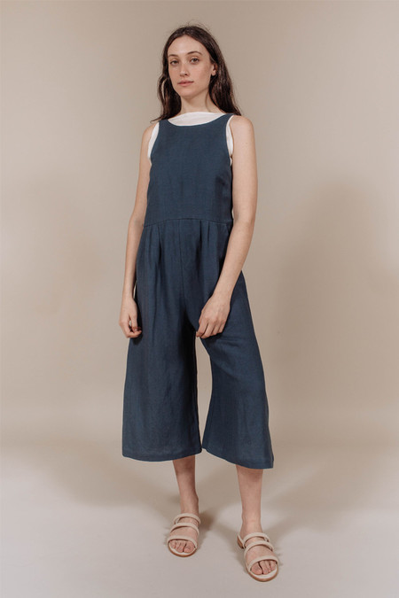 First Rite Crop Pantsuit in Slate