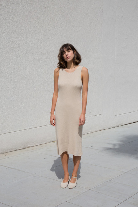Ali Golden Ribbed Dress
