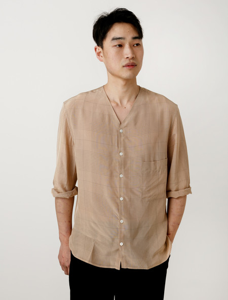 Lemaire Short Sleeve V-Neck Shirt Nude