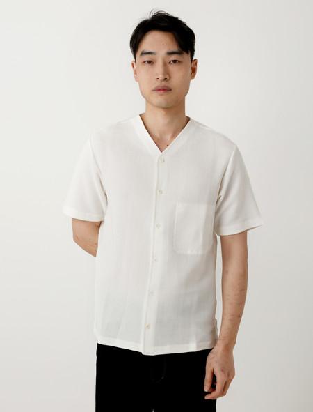 Lemaire V-Neck Mesh Shirt Chalk