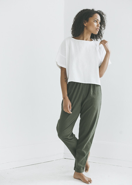 Me & Arrow Cuff Pant in Army Slub Cotton